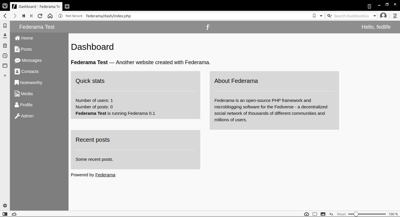 Federama 0.1 Dashboard