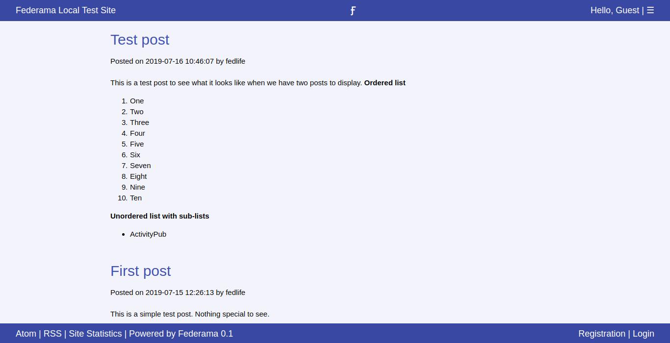 Federama 0.1 main page